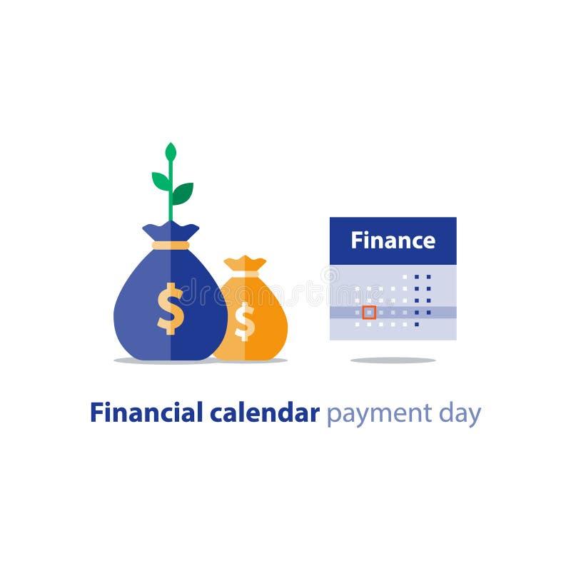 Сумки денег и календарь, финансовое планирование, месячный платеж, годовой доход, бухгалтерский учет, значок вектора иллюстрация штока