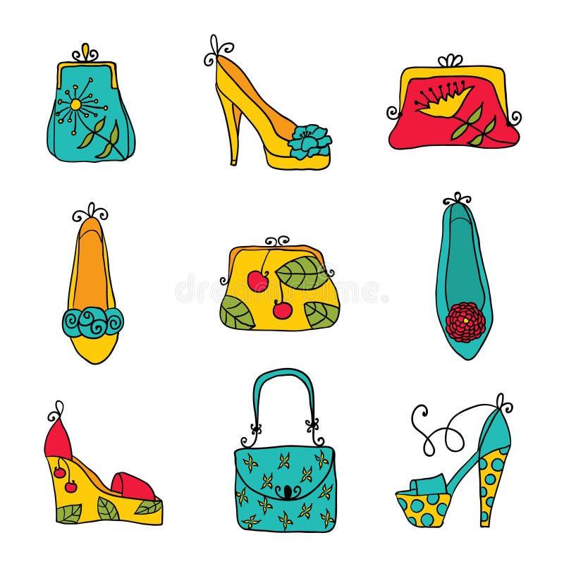 Сумки и ботинки дам собрания моды иллюстрация вектора