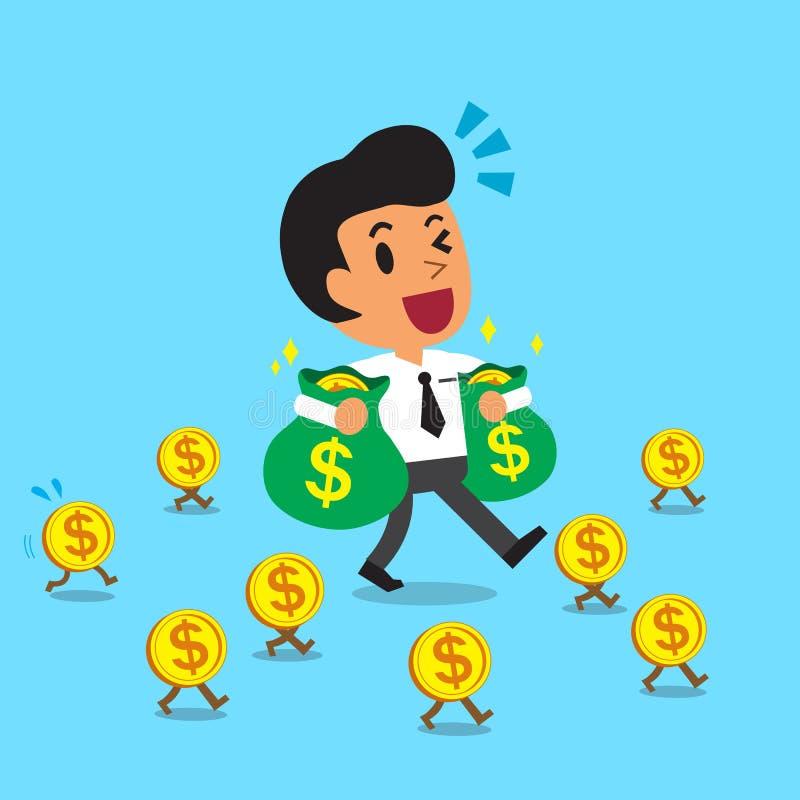 Сумки нося денег бизнесмена шаржа и идти с монетками денег бесплатная иллюстрация