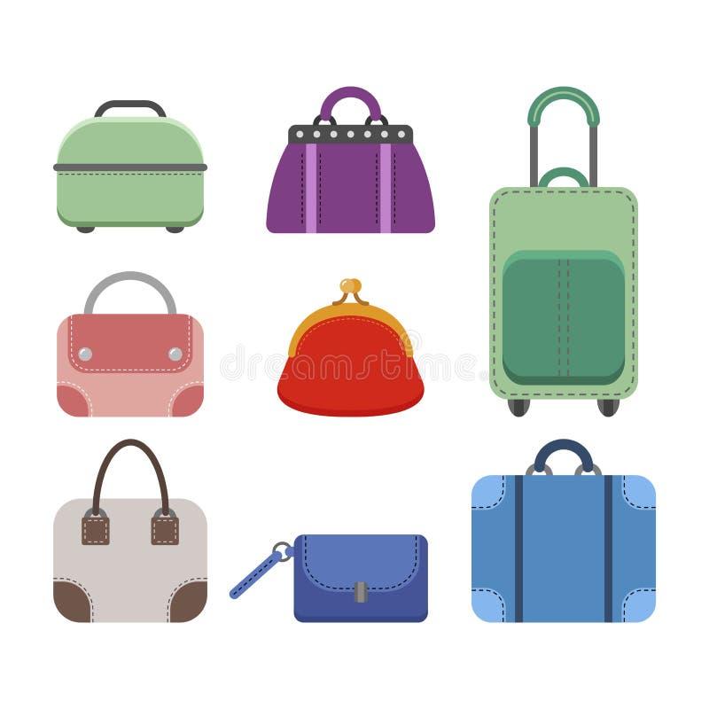 сумки установили женщин Плоский значок цвета аксессуара моды иллюстрация штока