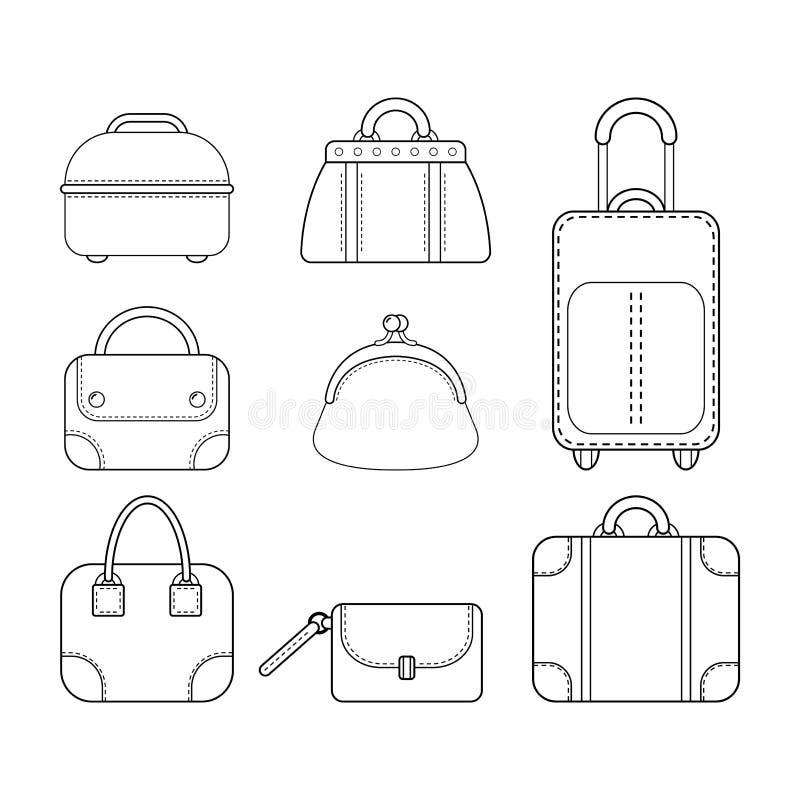 сумки установили женщин Плоский линейный значок аксессуара моды иллюстрация штока