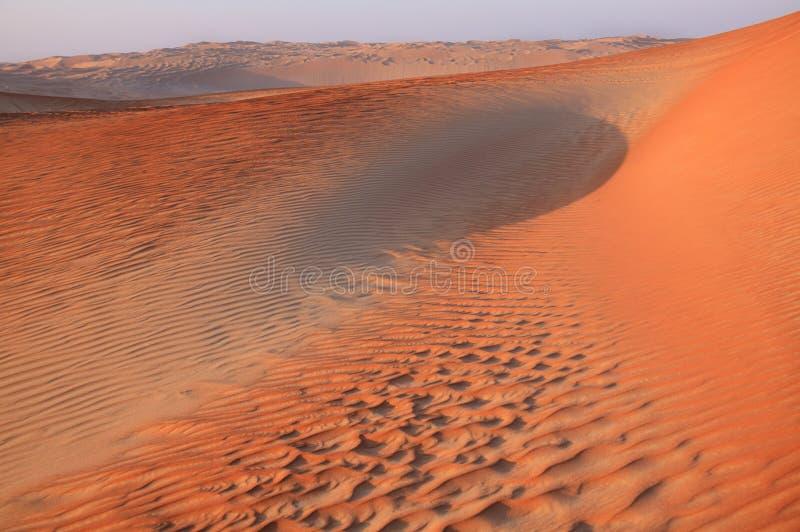 Сумрак в песчанных дюнах эмиратов стоковое изображение rf