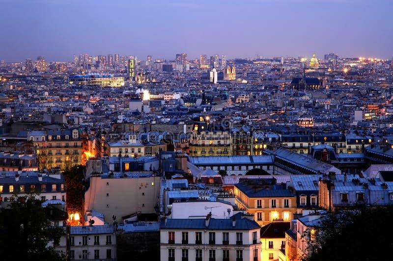 сумрак над panoramics paris стоковые фото