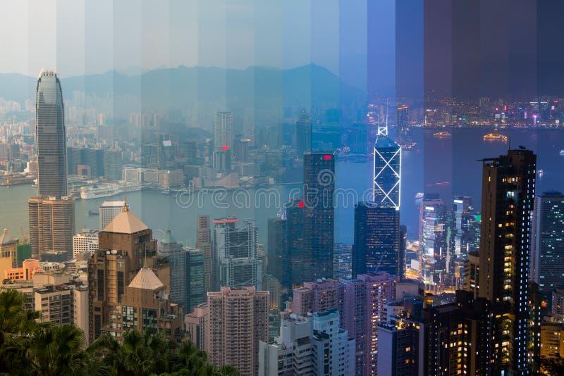 Сумрак над Гонконгом Striped коллаж стоковое фото rf