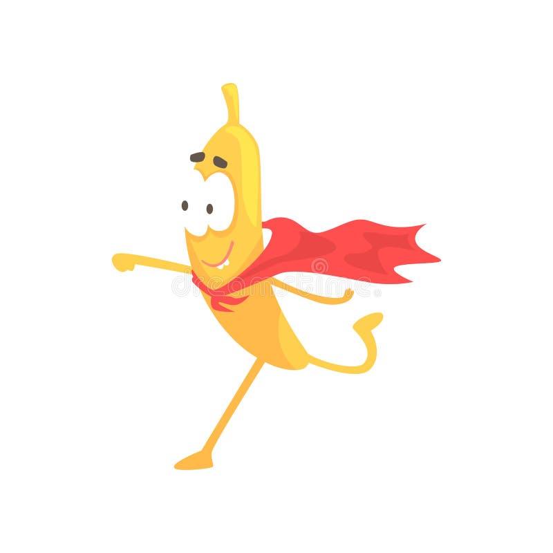 Супергерой банана, иллюстрация вектора характера плодоовощ шаржа смешная иллюстрация штока
