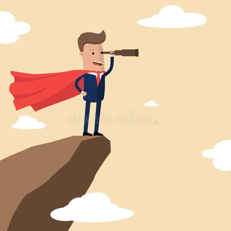 Супергерой бизнесмена на верхней части горы смотря в spyglass Концепция дела возможностей успеха и поиска иллюстрация штока