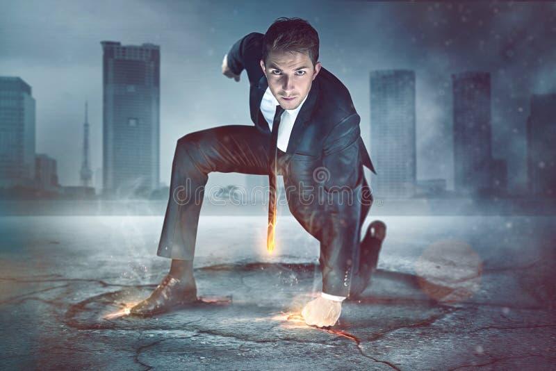 Супергерой бизнесмена стоковое фото