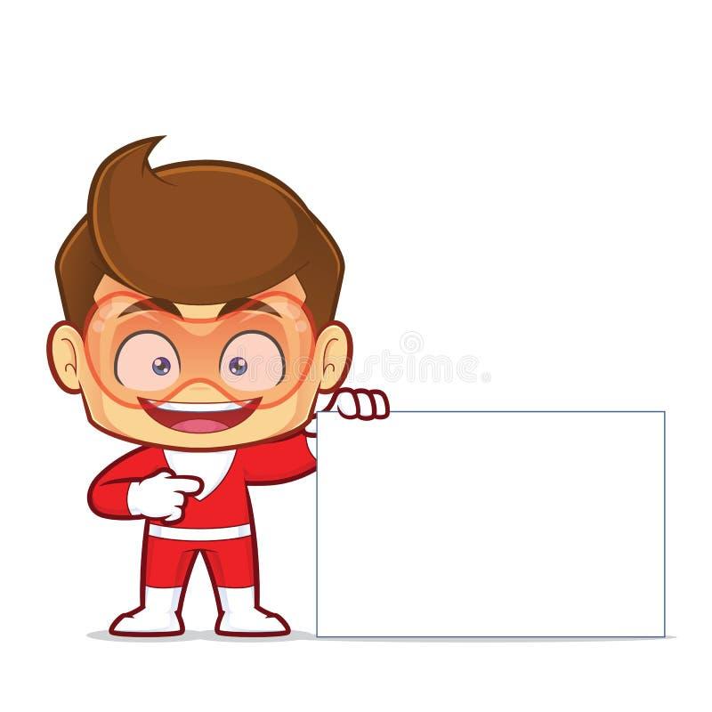 Супергерой держа пустой знак бесплатная иллюстрация