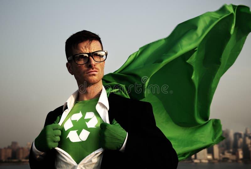 Супергерой зеленый представлять дела стоковая фотография rf