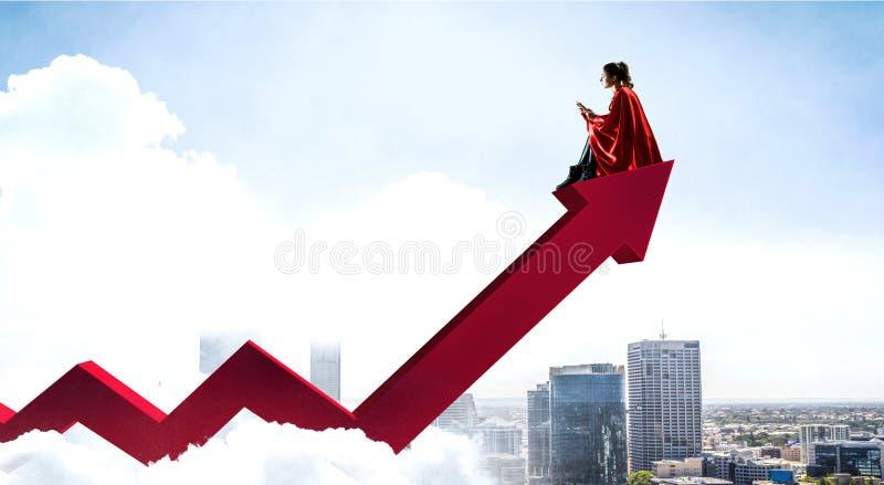 Супергерой на верхней части Мультимедиа стоковое изображение