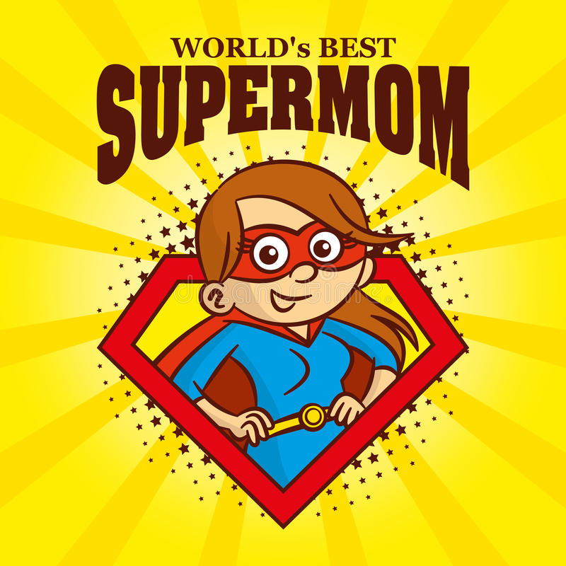 Супергерой персонажа из мультфильма логотипа Supermom иллюстрация вектора