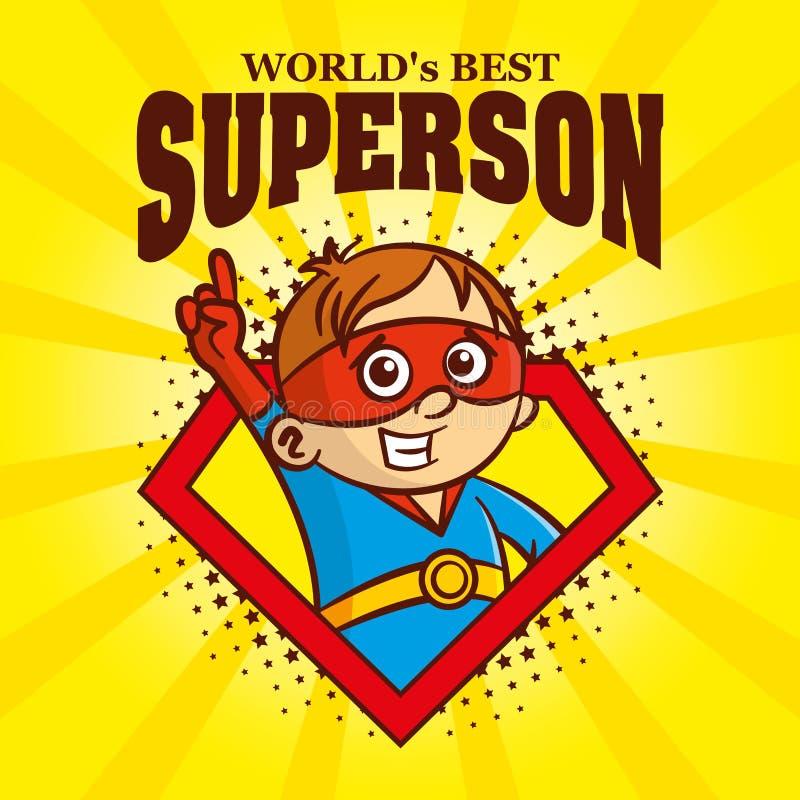 Супергерой персонажа из мультфильма логотипа Superson иллюстрация штока