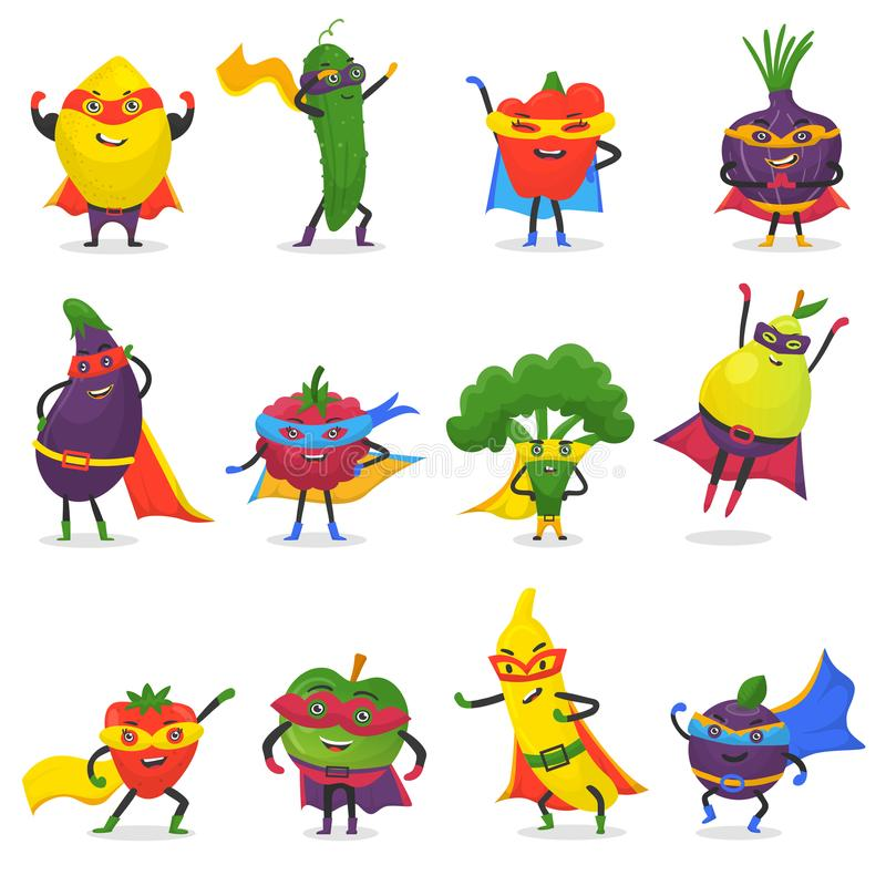 Супергерой приносить персонаж из мультфильма вектора fruity овощей выражения супергероя с смешным бананом или перцем яблока иллюстрация штока