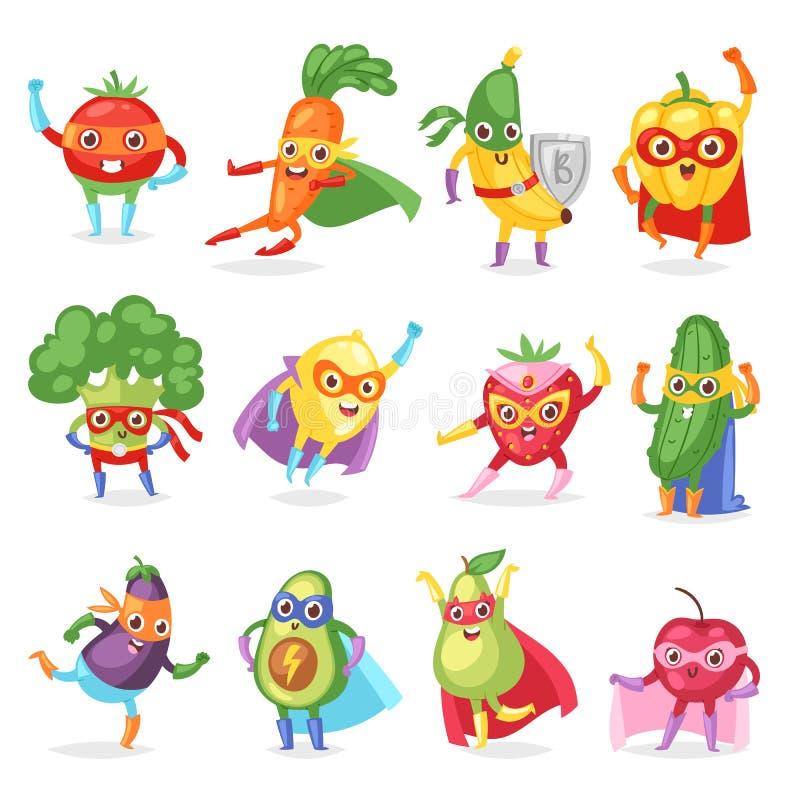 Супергерой приносить персонаж из мультфильма вектора fruity овощей выражения супергероя с смешной морковью или перцем банана иллюстрация вектора