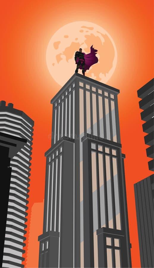 Супергерой смотрит в расстояние бесплатная иллюстрация
