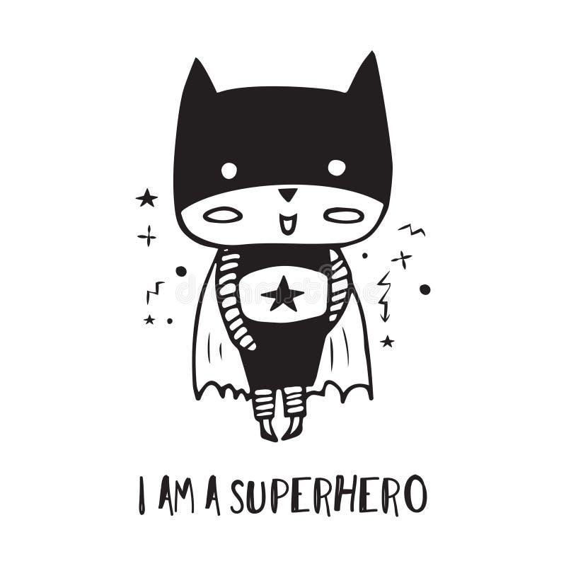 Супергерой шаржа в черном костюме стоковые изображения rf