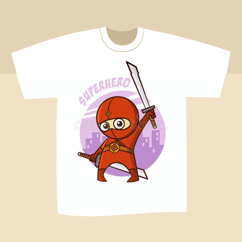 Супергерой Ninja дизайна белой печати футболки иллюстрация вектора