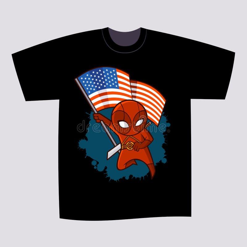 Супергерой Ninja дизайна печати футболки бесплатная иллюстрация