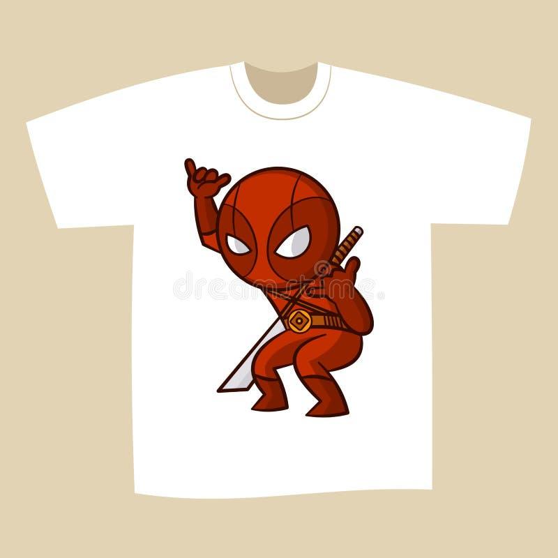 Супергерой Ninja дизайна печати футболки иллюстрация штока