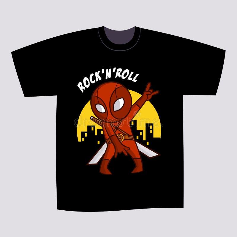 Супергерой Ninja дизайна печати черноты футболки иллюстрация штока