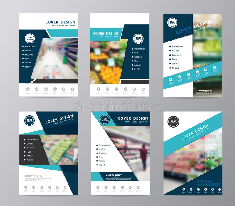 Супермаркет брошюры годового отчета вектора установленный в расплывчатой предпосылке иллюстрация штока