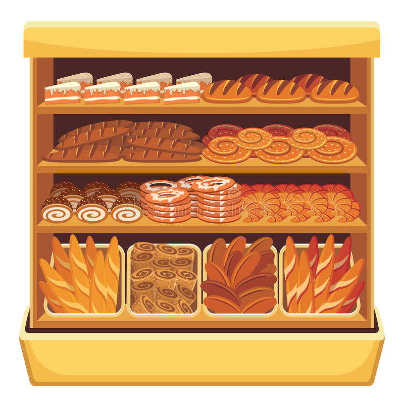 Супермаркет. Витрина хлеба. иллюстрация штока