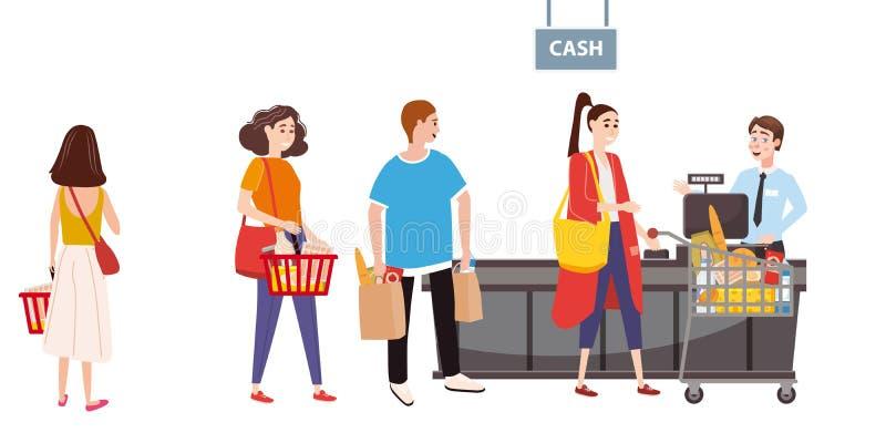 Супермаркет или магазин, стол наличных денег и кассир Люди и покупатели женщин, продукты тележки Большой торговый центр r иллюстрация вектора