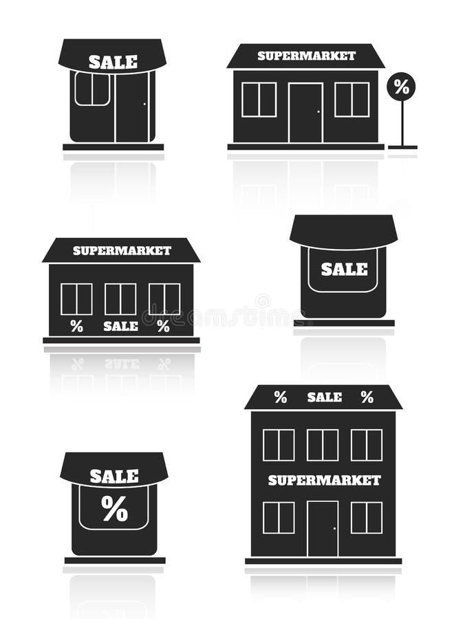 Супермаркет, магазин, комплект значка магазина иллюстрация вектора