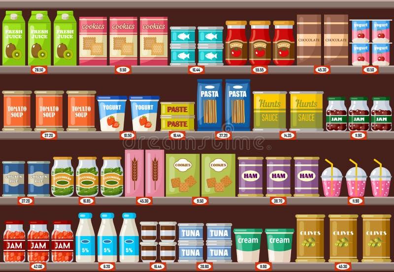 Супермаркет, полки с продуктами и напитки иллюстрация вектора