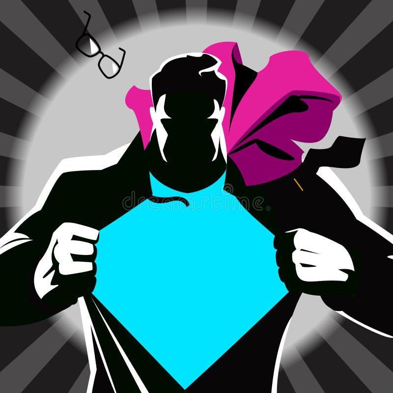 Супермен срывая его рубашку силуэт иллюстрация вектора