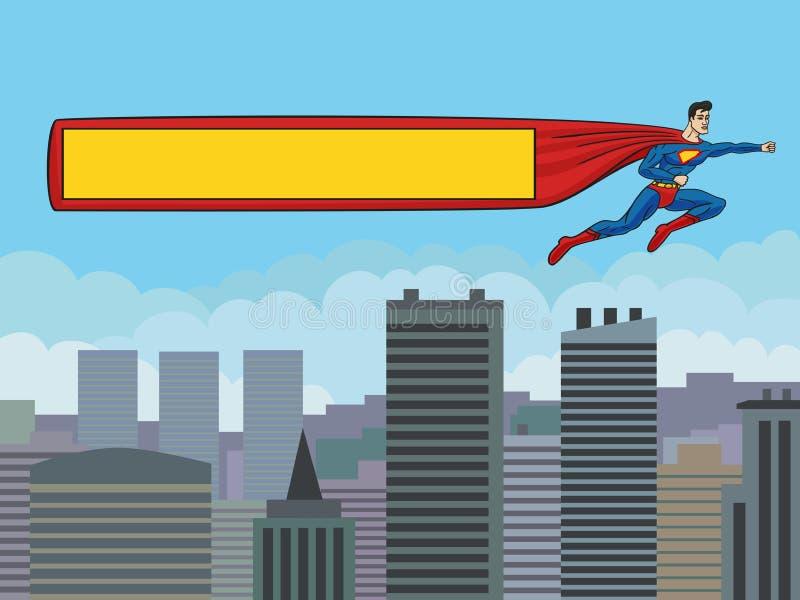 Супермен с знаменем над городом. бесплатная иллюстрация