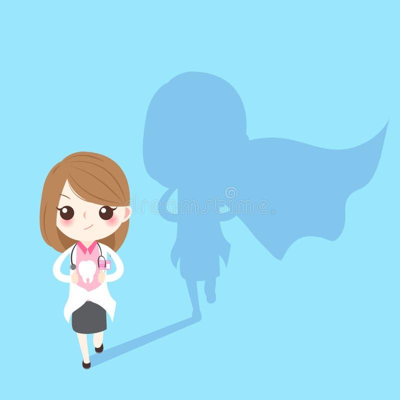 Супер дантист женщины иллюстрация вектора