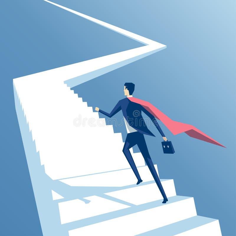 Супер бизнесмен и лестницы иллюстрация штока