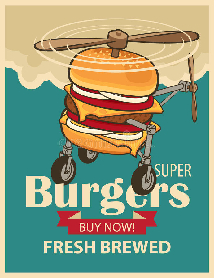 Супер вертолет бургера бесплатная иллюстрация
