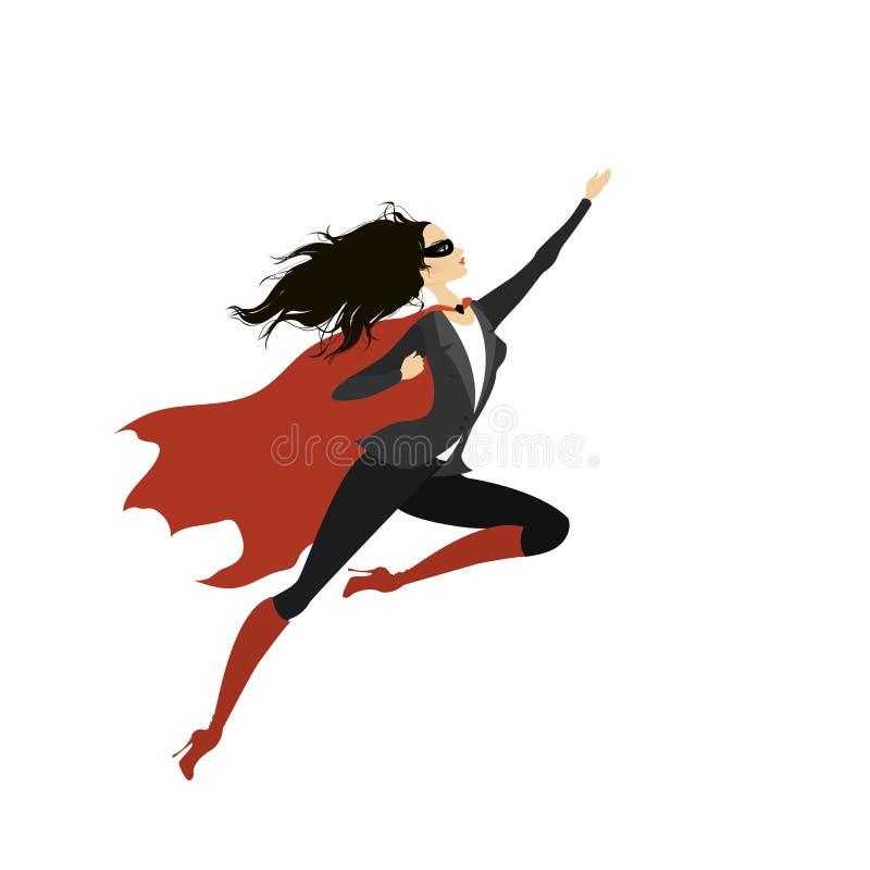 Супер героиня, изолированная на белизне иллюстрация штока