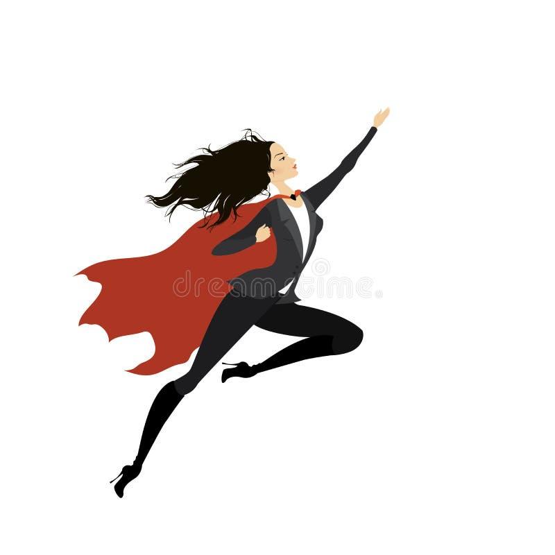 Супер героиня, изолированная на белизне иллюстрация вектора