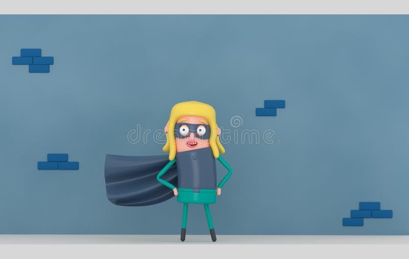 Супер героиня перед голубой стеной illustratiion 3d иллюстрация вектора