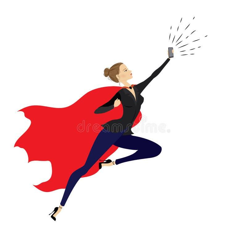 Супер героиня с мобильным телефоном бесплатная иллюстрация