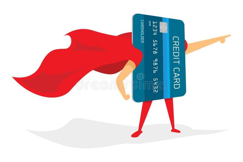 Супер герой кредитной карточки с накидкой бесплатная иллюстрация