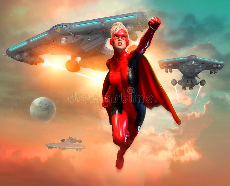 Супер иллюстрация сцены 3D героини бесплатная иллюстрация