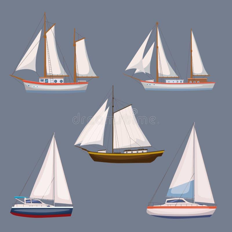 Супер комплект экипажа и морского транспорта воды в современном стиле дизайна шаржа Корабль, шлюпка, сосуд, грузовой корабль иллюстрация штока