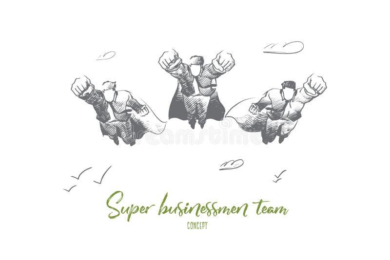 Супер концепция команды бизнесмена Вектор нарисованный рукой изолированный иллюстрация вектора
