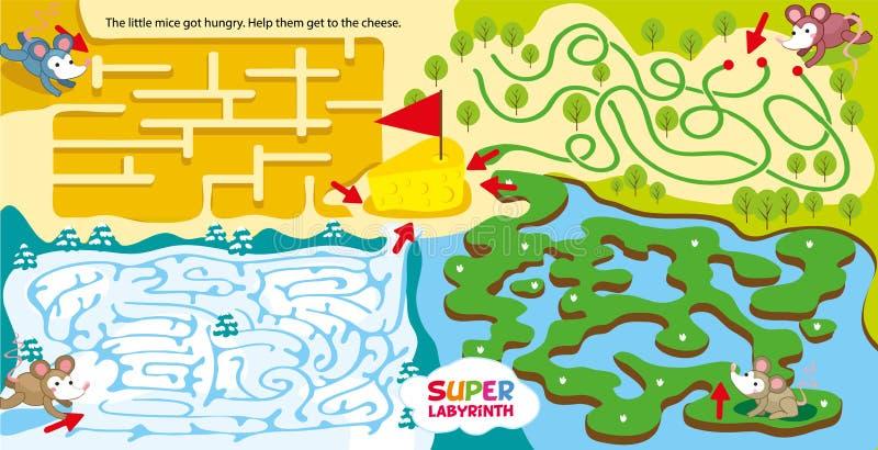 Супер лабиринт для детей игра лабиринта детей Нагнетать логически и пространственной мысли Помогите маленьким мышам от различного иллюстрация штока