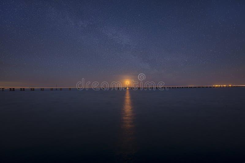 Супер луна голубой крови поднимая над длинным мостом стоковое фото rf
