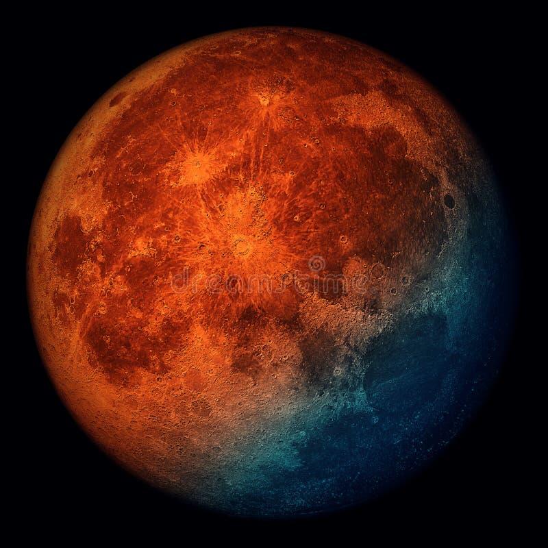 Супер луна голубой крови - 2018 иллюстрация штока