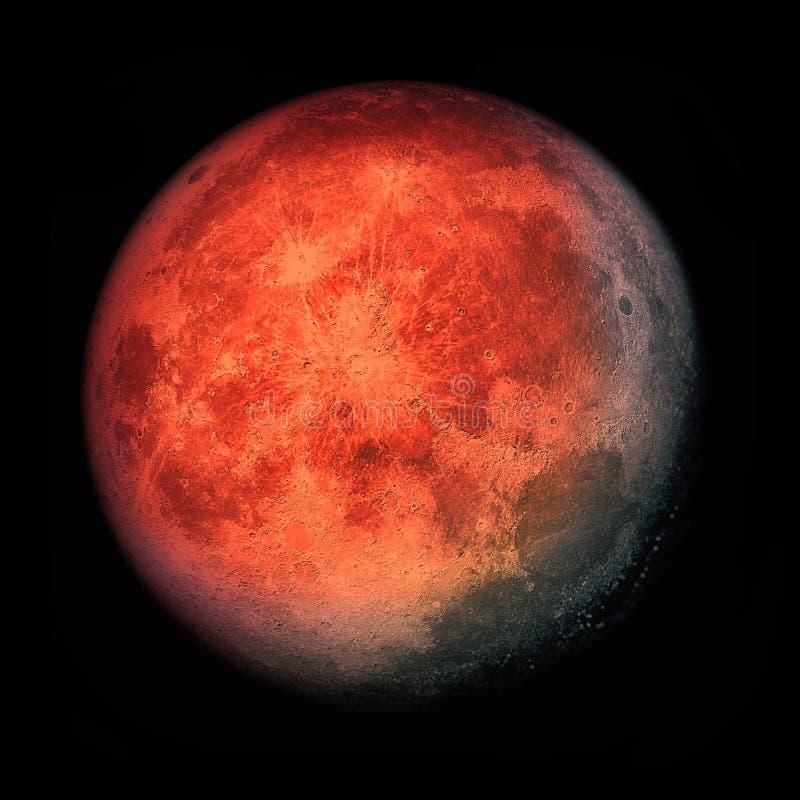 Супер луна крови - 2019 иллюстрация вектора