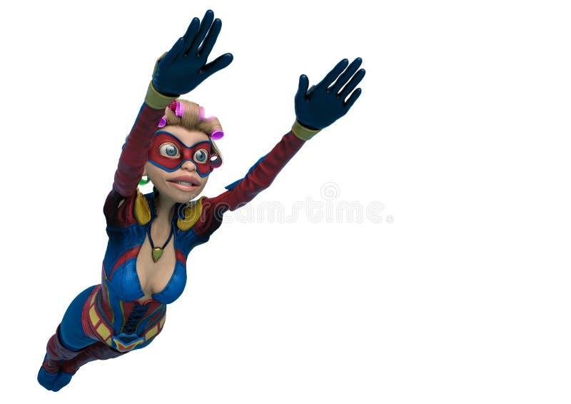 Супер мама с мультфильмом вьющиеся волосы как раз летая вокруг в белую иллюстрация штока