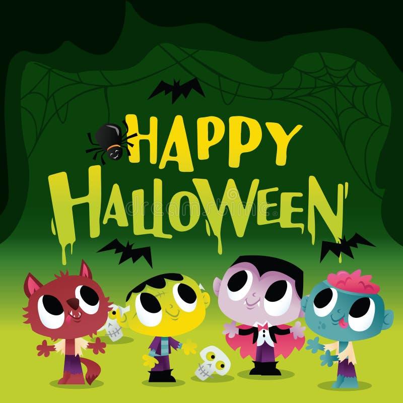 Супер милые чудовища и Ghouls хеллоуина в пугающей пещере иллюстрация штока