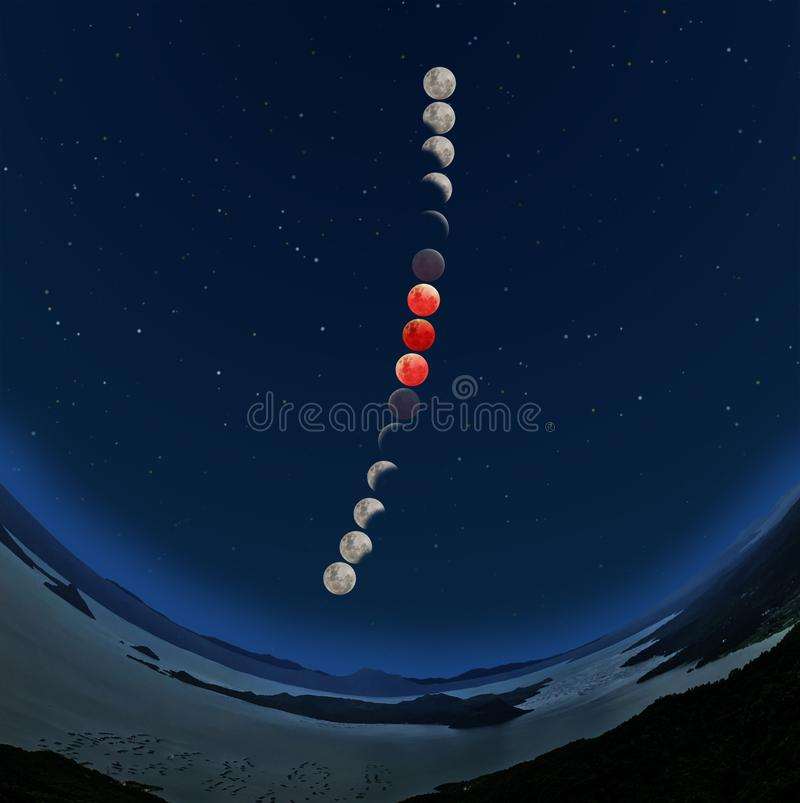 Супер последовательность затмения луны голубой крови иллюстрация вектора