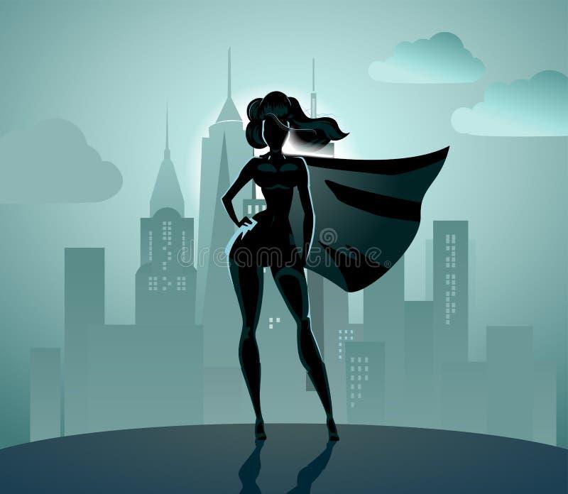 Супер силуэт героини иллюстрация штока
